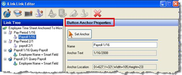 Application Link Editor>Button Anchor Properties